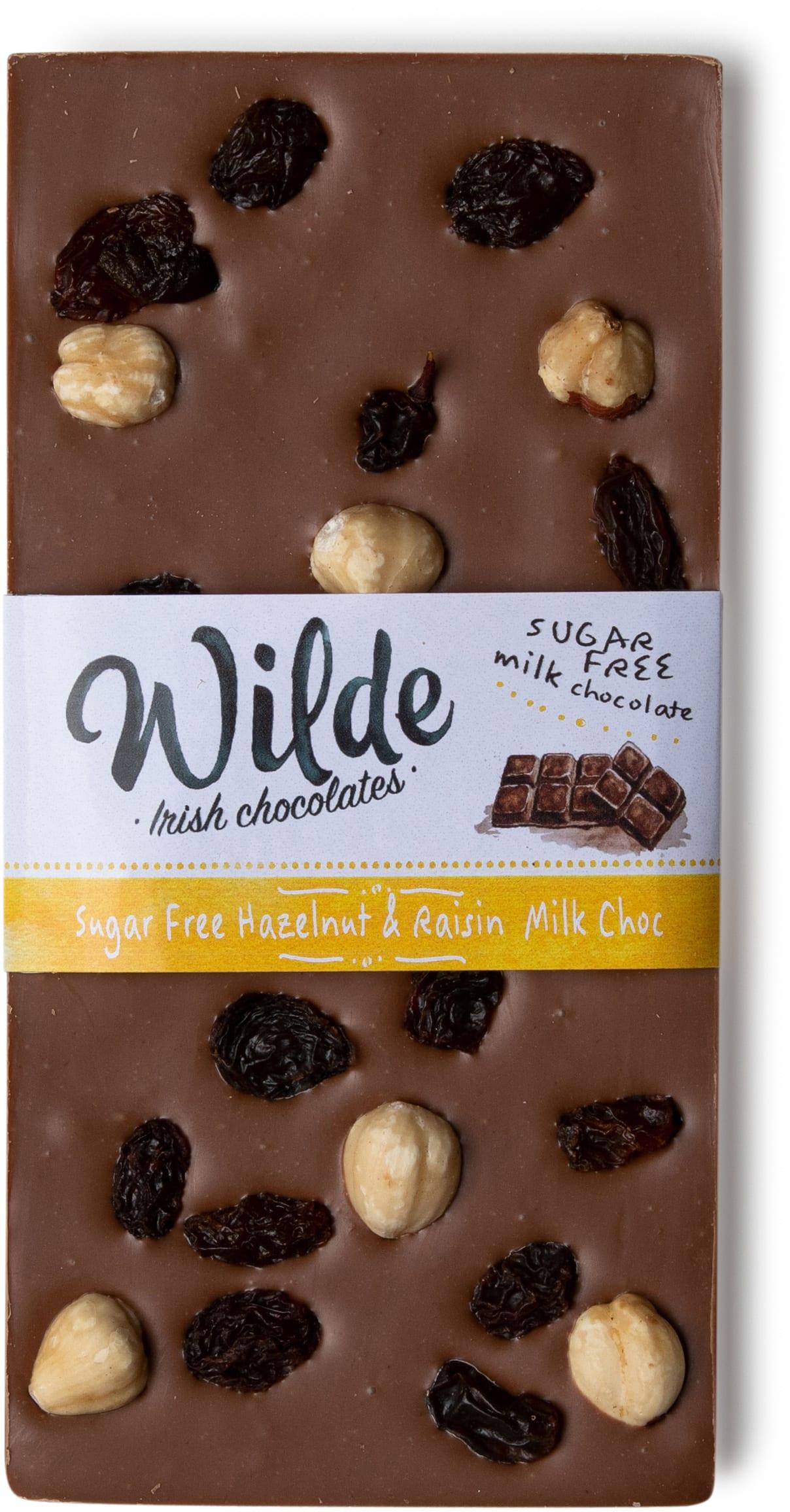 Sugar free Hazelnut & Raisin Milk Chocolate bar - Wilde Irish Chocolates