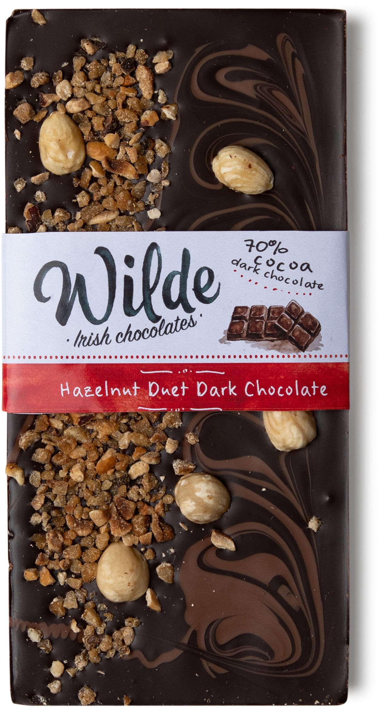 hazelnut duet Dark chocolate bar - Wilde Irish Chocolates