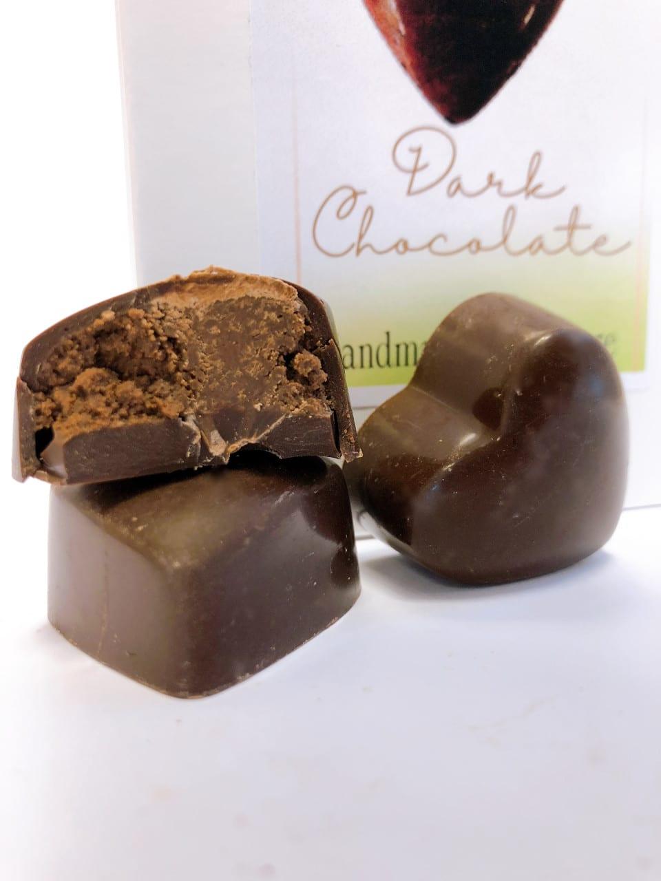 Dark chocolate praline hearts - Wilde Irish Chocolates - vegan chocolate